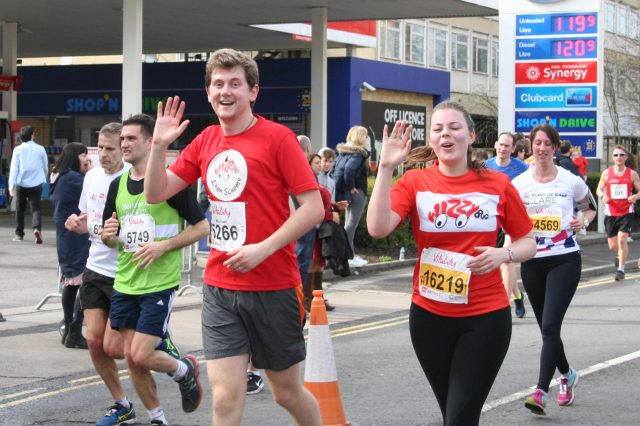 Two people running in the Bath Half Marathon