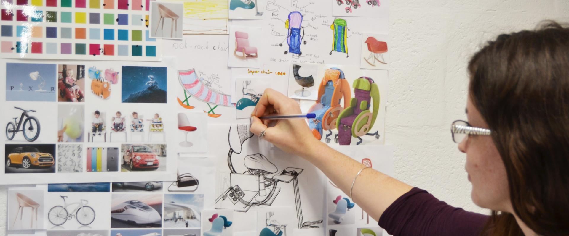 Product designer sketching