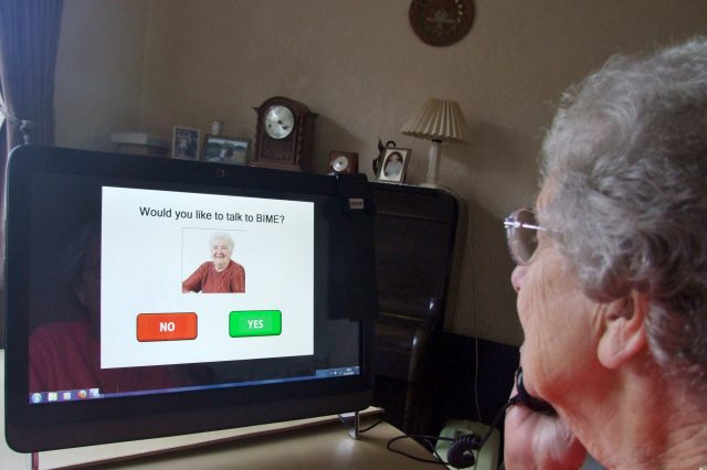 Older lady using the video conferencing system
