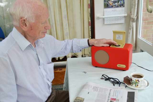 Ted operating his Simple Music Player at home