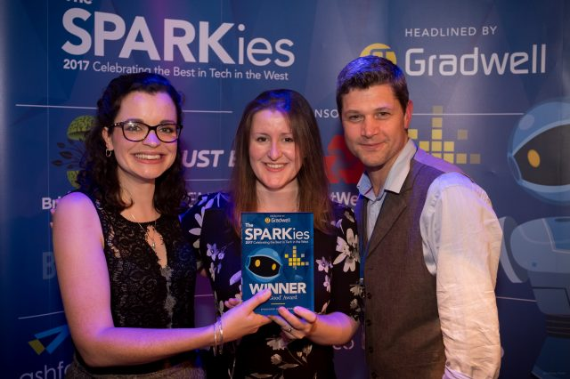 Jess and Hazel pose with award at The SPARKies