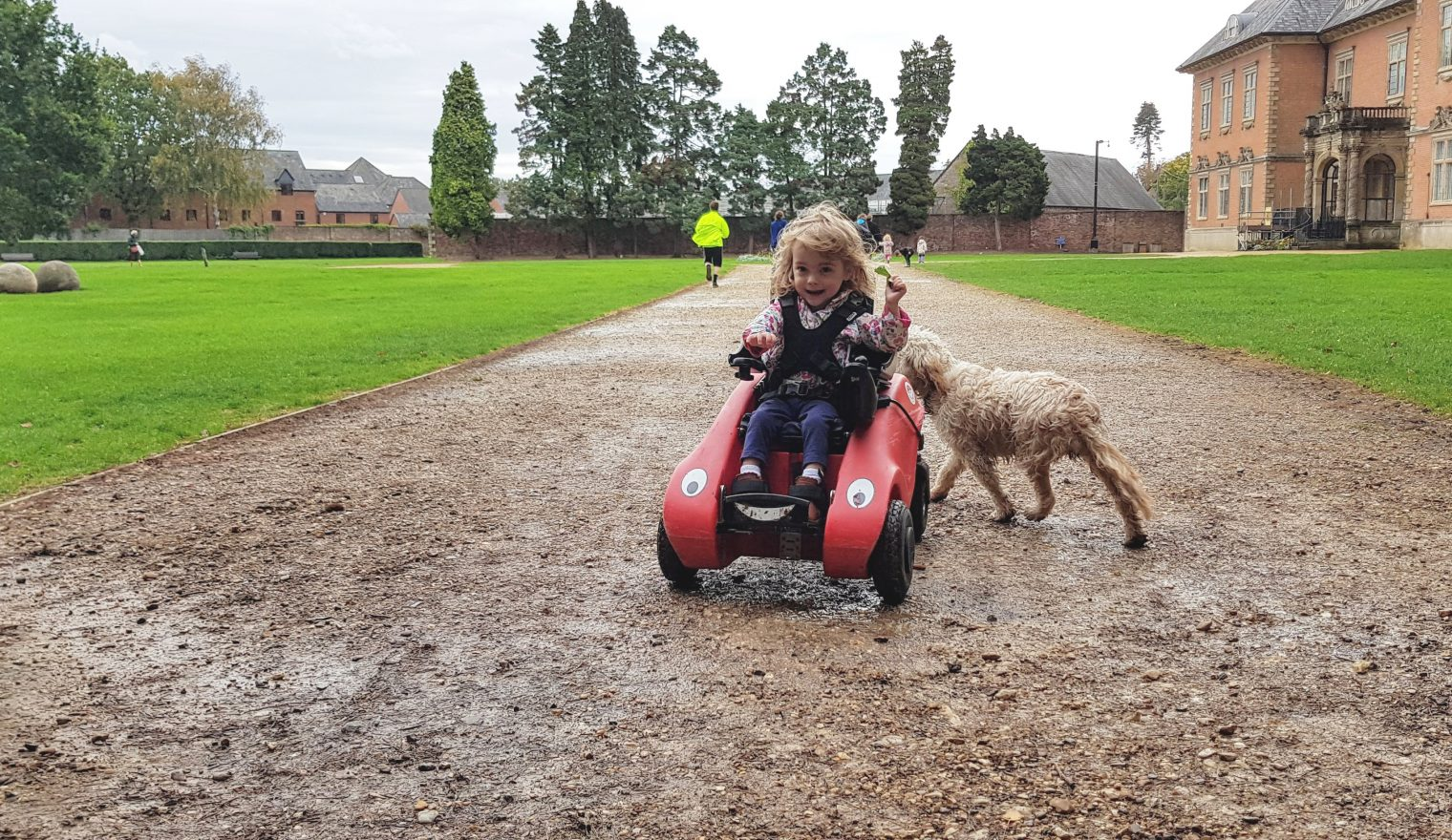 Young girl in a Wizzybug powered wheelchair outside with a dog