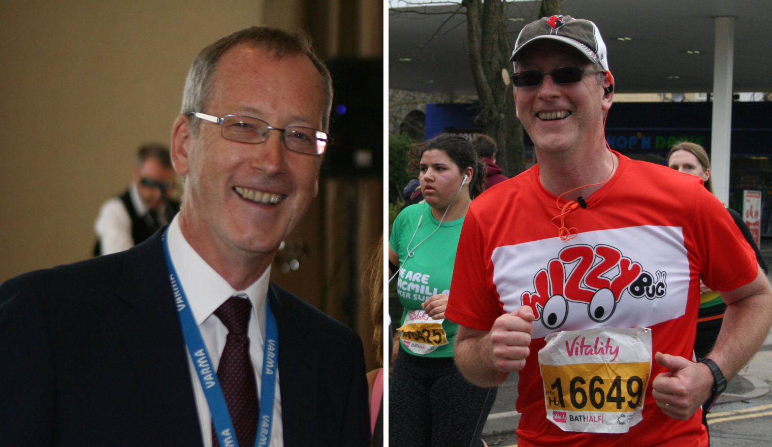 Two pictures of Nigel - one smiling at the camera in a suit and one running in the Bath Half Marathon