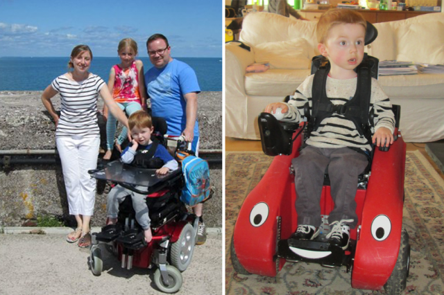 Samantha McNamee with Alfie, his dad and his sister leaning against a wall and Alfie in his Wizzybug powered wheelchair