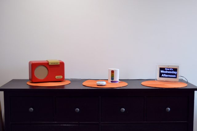Assistive technology displayed on top of cabinet