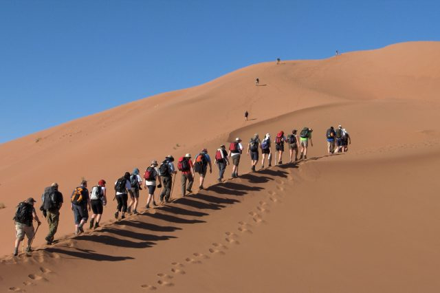 People trekking across the Sahara Desert