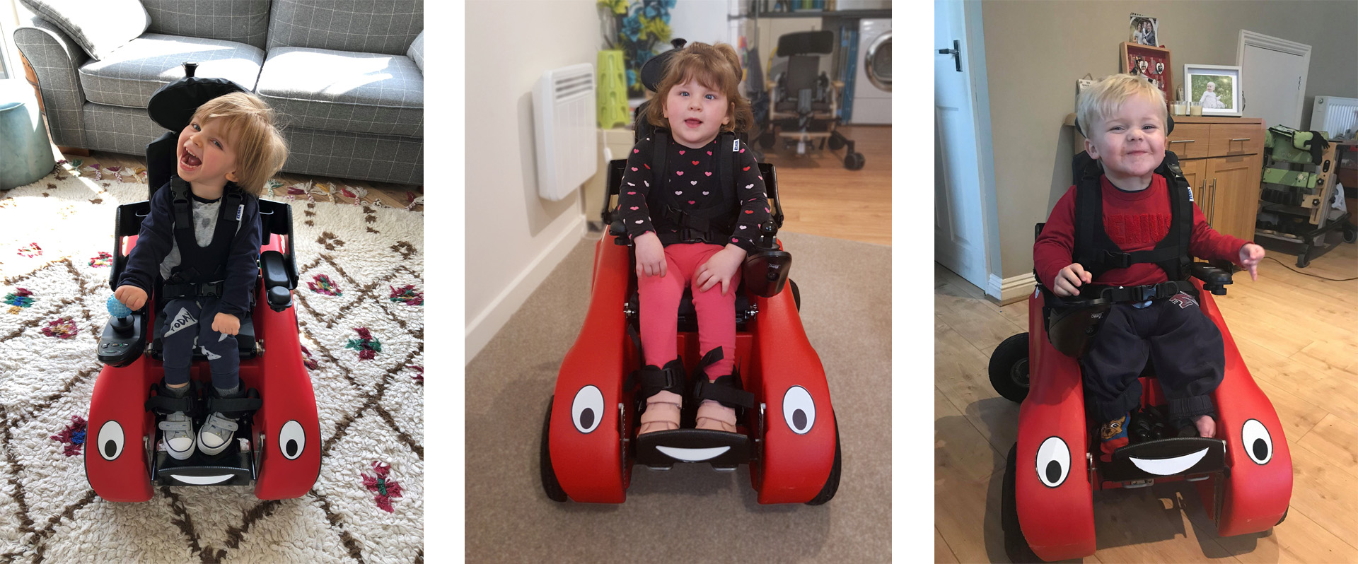 Three children sat in Wizzybug powered wheelchairs smiling at camera