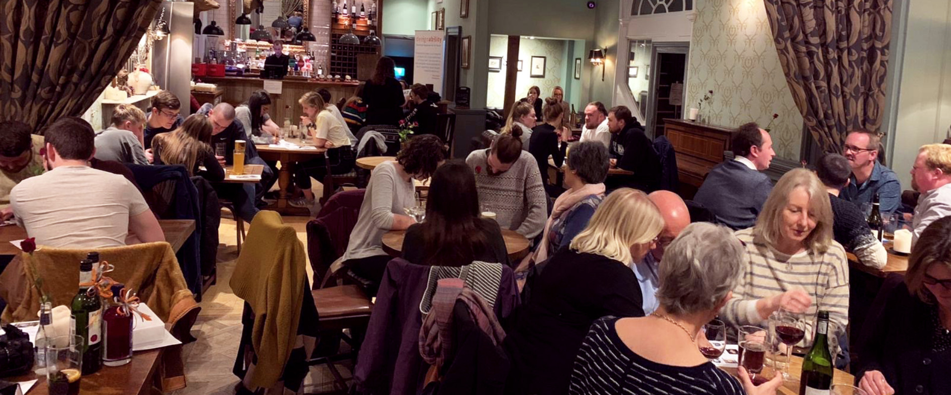 Groups of people around tables in a pub