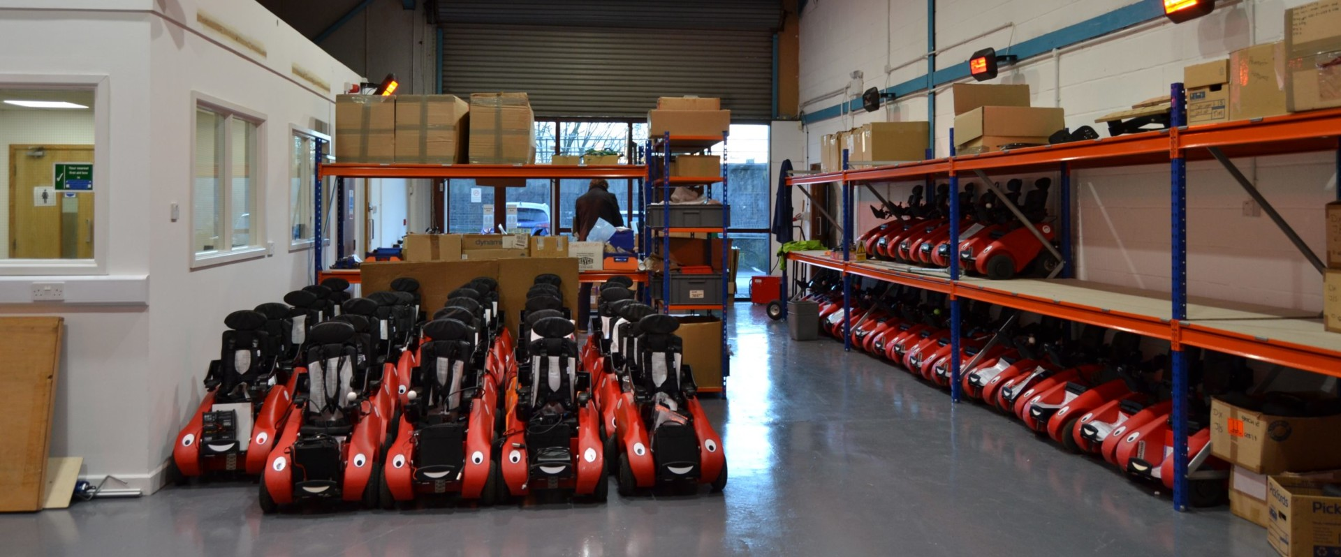 Wizzybug powered wheelchairs in a workshop